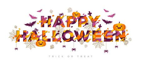 Halloween typography design with pumpkins Illustration