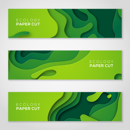 Horizontal banners set, green paper cut shapes.