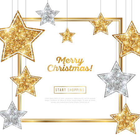 Christmas Frame with Silver and Gold Stars Illustration