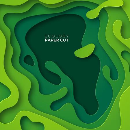 3D abstracte achtergrond met groen papier gesneden vormen. Vectorontwerplay-out voor bedrijfspresentaties, vliegers, affiches en uitnodigingen. Kleurrijk snijwerk kunst, milieu en ecologie ontwerpelement Stock Illustratie