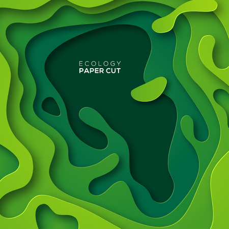 3D abstract background with green paper cut shapes. Vector design layout for business presentations, flyers, posters and invitations. Colorful carving art, environment and ecology design element