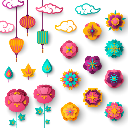 Chinese Decorative Icons Clouds, Flowers and Chinese Lanterns Vectores