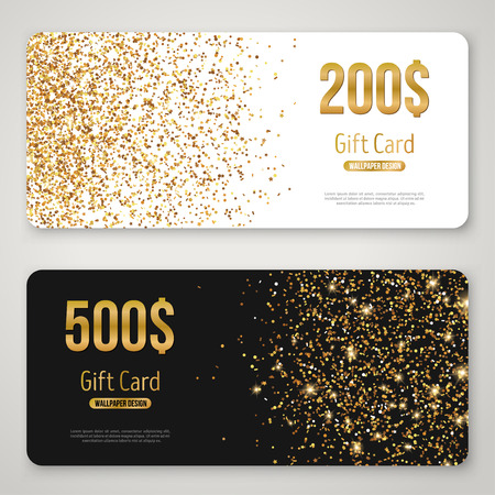 Gift Card Design with Gold Glitter Texture 向量圖像