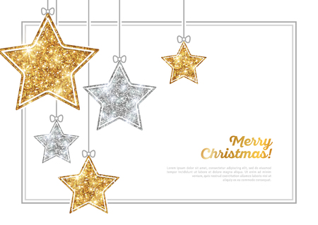 Frame with Silver and Gold Hanging Stars Vectores