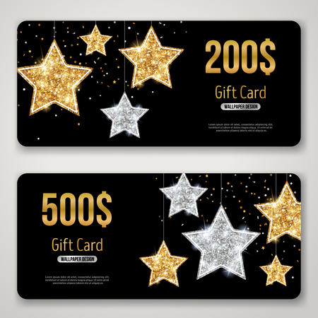 Gift Card Design with Gold Glitter Stars on Black background