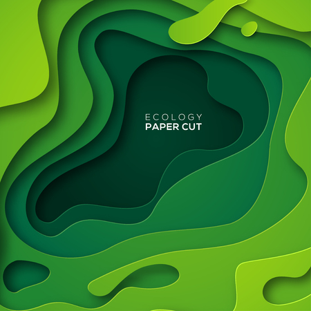 3D abstract background with green paper cut shapes