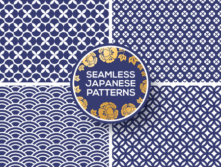 Japanese blue seamless patterns Ilustração