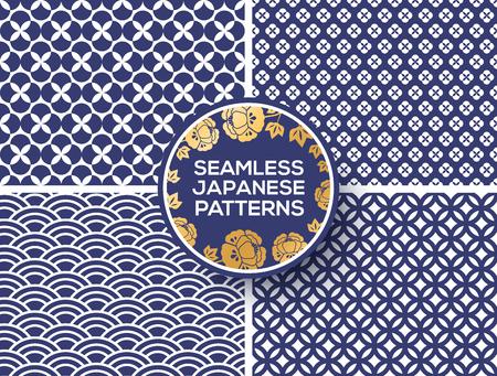 Japanese blue seamless patterns Vettoriali