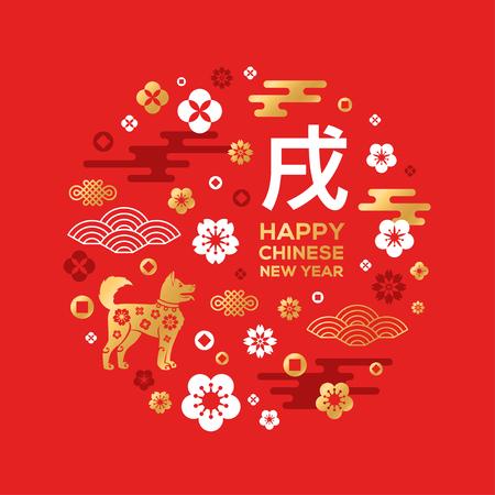 Chinese Nieuwjaarskaart met dierenriemhond op rood