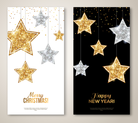 Vertical Banners with Silver and Gold Stars