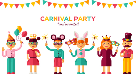Children's carnival party vector illustration. Ilustrace