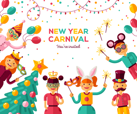 Children New year 2018 carnival party poster