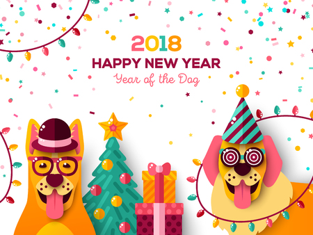 2018 Chinese New Year Greeting Card with dogs in carnival masks. Vector illustration. Christmas tree and gift box, confetti and garland lights Illustration