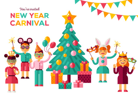 Children New year 2018 carnival party Vector illustration.