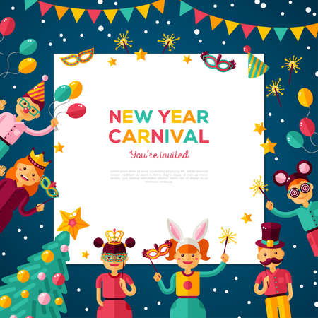 Children New year carnival party with square frame Illustration
