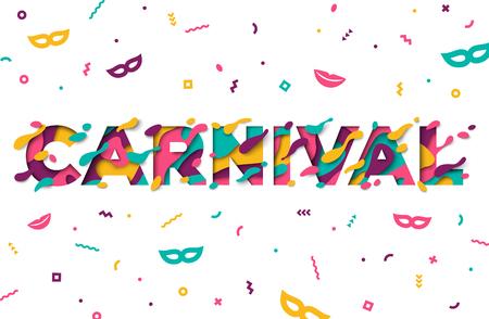 Karnevalsgrußkarte mit Typografiedesign und abstraktem Papier schnitt Formen auf weißem Hintergrund. Vektor-illustration Buntes 3D, das Kunst schnitzt. Standard-Bild - 92252815