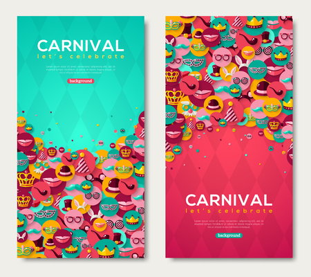 Carnival Vertical Banners Set With Flat Icons in Circles on Pink and Blue Textured Backdrop. Vector illustration. Masquerade Ball Concept. Poster, flyer or invitation design, Funfair funny tickets.