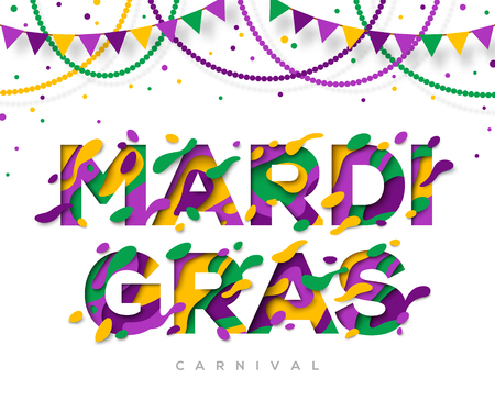 Carnival Mardi Gras greeting card with typography design.