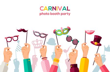 Carnival banner with carnaval masks illustration.
