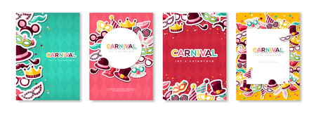 Carnival colorful posters set.