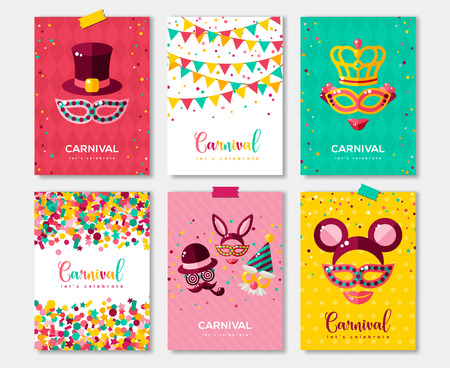 Carnival colorful posters set, for invitation design.