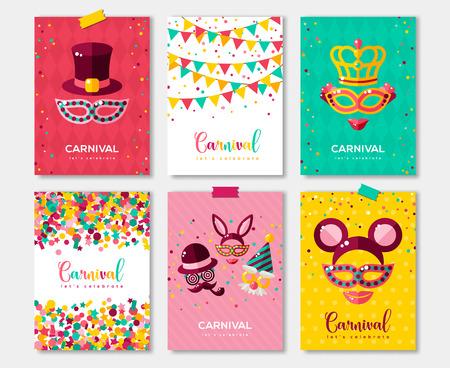 Cartazes coloridos do carnaval ajustados, para o projeto do convite. Ilustración de vector
