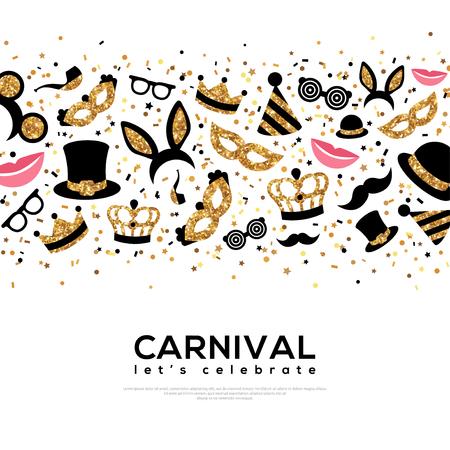Carnaval-conceptenbanner met gouden en zwarte pictogrammen. Stock Illustratie