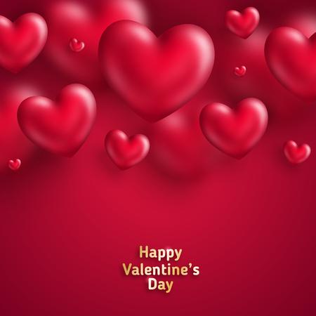 赤いハートのデザインのバレンタインデーイラスト。