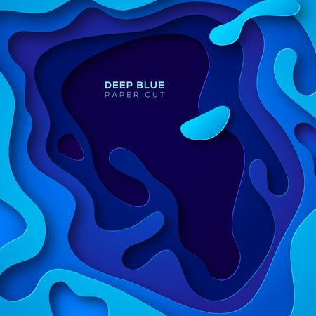 Blue abstract illustration with paper cut shapes design.