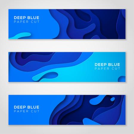 抽象的な青いデザインの水平バナー。