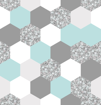 Silver, mint and white hexagon grid texture. Reklamní fotografie - 92269348