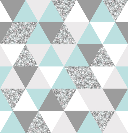 Silver, mint and white triangular grid texture.
