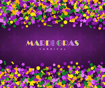 Carnival theme, with mardi gras confetti illustration.
