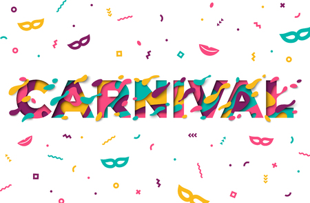 Carnival greeting card with typography design. Illustration