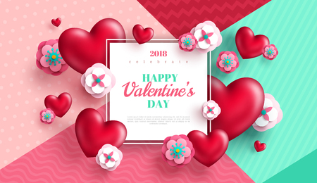 Valentine's day concept background. Vector illustration. 3d red hearts and paper cut flowers with white square frame. Cute love sale banner or greeting card Illustration