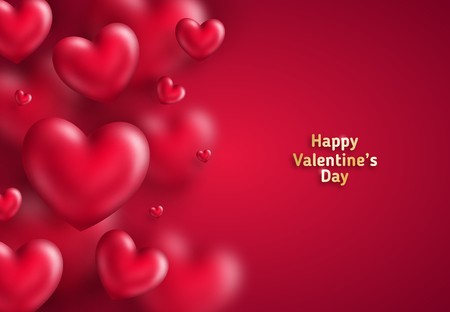 Many hearts on red 일러스트