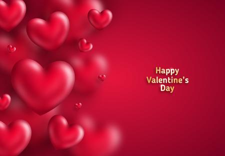 Muchos corazones en rojo Ilustración de vector