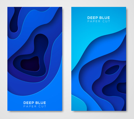 Vertical banners with abstract blue background Vectores