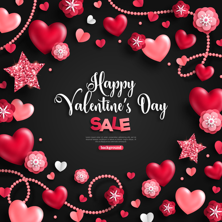 Happy saint valentines day sale, holiday objects on black. Vector illustration. Glittering hearts, stars, pearl beads and flowers. Flyer, card, menu, cover, banner, voucher design tepmlate.