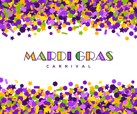 Colorful carnival Mardi Gras confetti greeting card Vector illustration