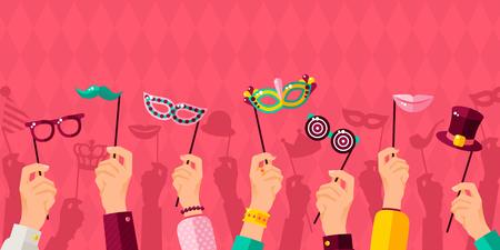 Carnival banner with hands holding carnival masks vector illustration
