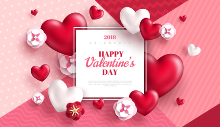 Valentines day concept background. Vector illustration. 3d red hearts and paper cut flowers with white square frame. Cute love sale banner or greeting card