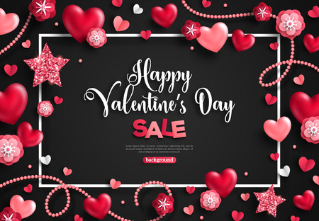 Happy saint valentines day sale with frame, holiday objects on black. Vector illustration. Glittering hearts, stars, pearl beads and flowers. Flyer, card, menu, cover, banner, voucher design template. Illustration