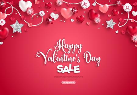 幸せな聖バレンタインデーの販売、水平境界線、赤い背景に休日のオブジェクト。ベクトルイラスト。きらめく心、星、花。チラシ、カード、メニ  イラスト・ベクター素材