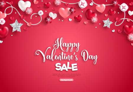 Happy saint valentine's day sale, horizontal border, holiday objects on red background. Vector illustration. Glittering heart, star and flowers. Flyer, card, menu, banner, voucher design template. Illustration
