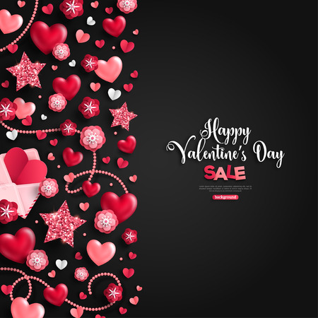 Happy saint valentines day sale, holiday objects on black. Vector illustration. Glittering hearts, stars and flowers. Flyer, card, menu, cover, banner, voucher design tepmlate, vertical border. Illustration