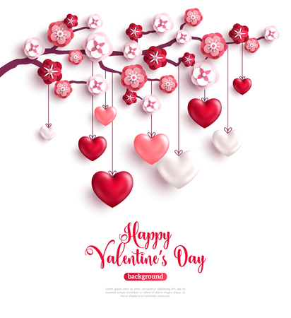 Happy Saint Valentines Day concept. Valentine trees with paper flowers and hanging 3D hearts. Vector illustration. Vettoriali