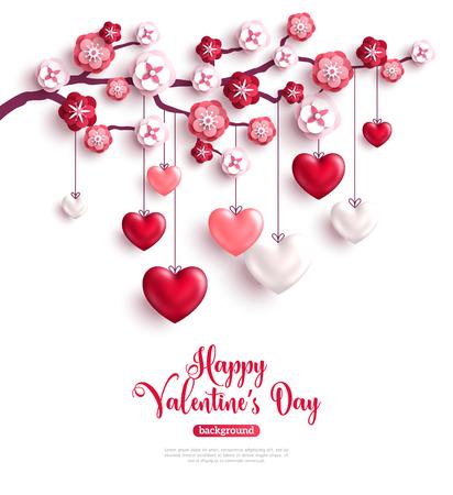 Glückliches Heilig-Valentinstagkonzept. Valentinsgrußbäume mit Papierblumen und hängenden Herzen 3D. Vektor-illustration
