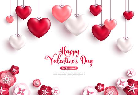 Glücklicher Valentinstaghintergrund mit Dekorationsherzen und Papierschnitt-Rosenblumen. Vektor-illustration