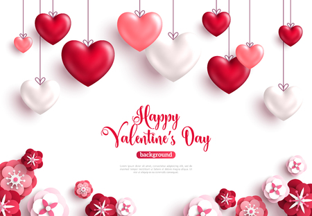 Happy saint valentine's day background with decoration hearts and paper cut rose flowers. Vector illustration. Иллюстрация